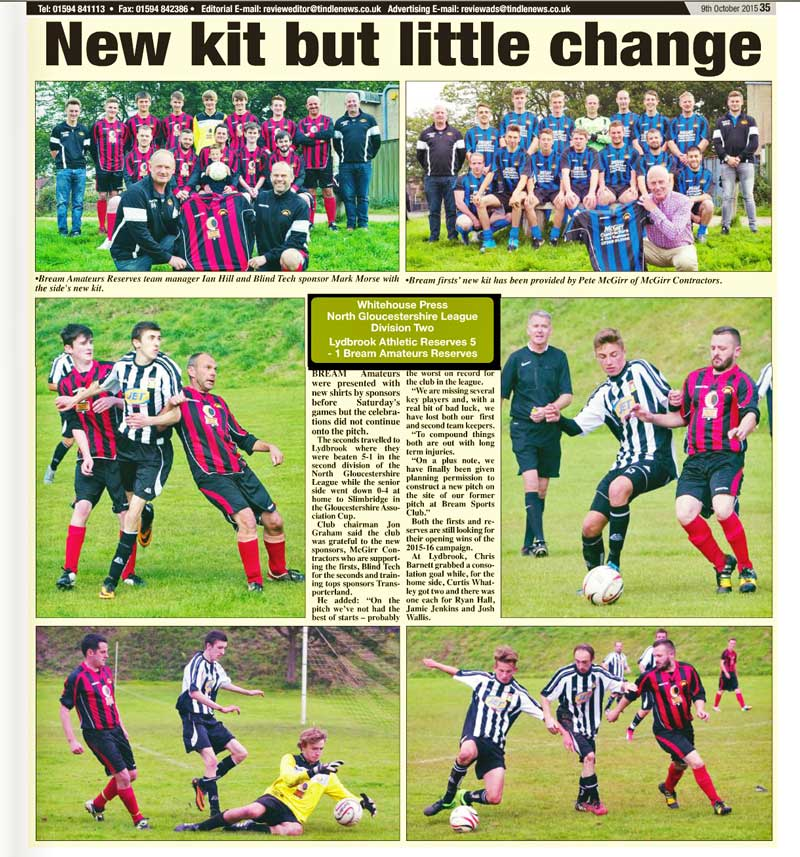 A feature on Bream Amateurs football team in the Forest Review newspaper.