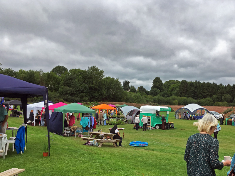 A photo showing stalls on the cricket outfield at Bream Show 2018