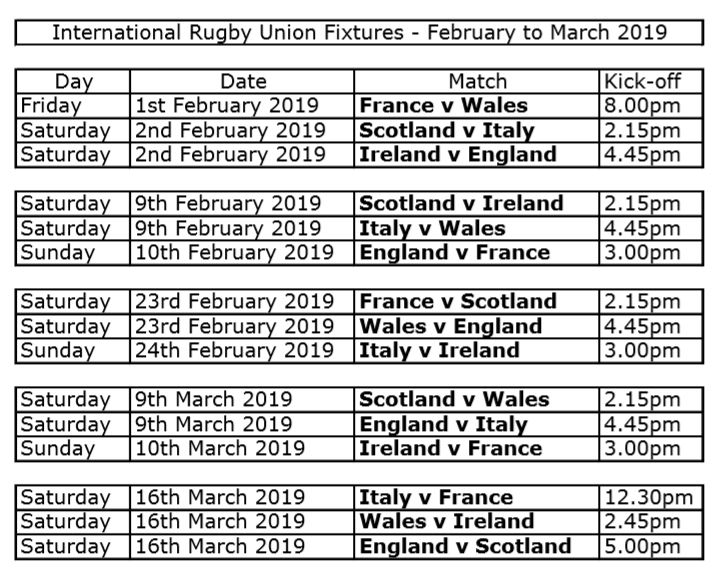 An image showing Six Nations Rugby Fixtures 2019