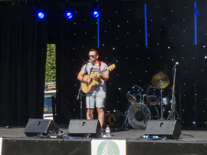 A photo showing a performer on stage at BreanFest 2019