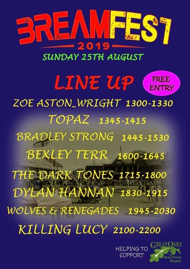 A poster for BreamFest Line up Sunday 25th August 2019