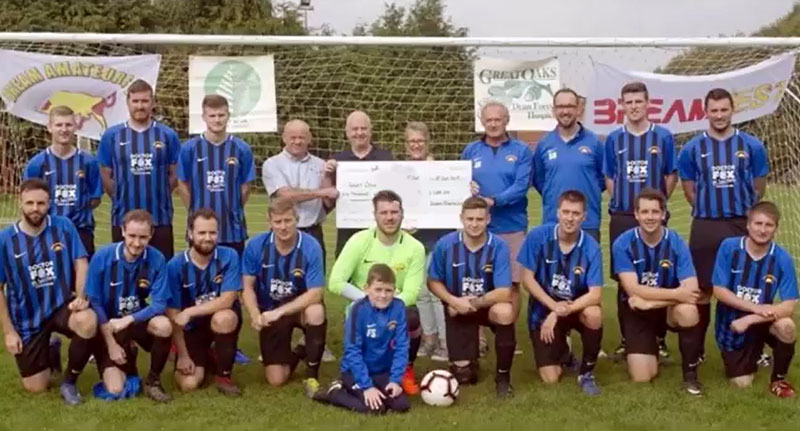 Bream FC donate £1,055 to Great Oaks Dean Forest Hospice